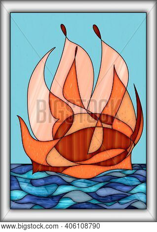 Stylish Stained Glass Abstract Design In Various Colors, Background And Texture