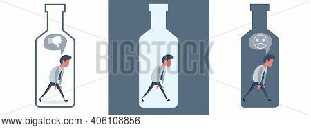 Unhappy Sad Alcoholic Man Character In Drink Bottle. Alcoholism Addict Problem Dependence Bad Habit.