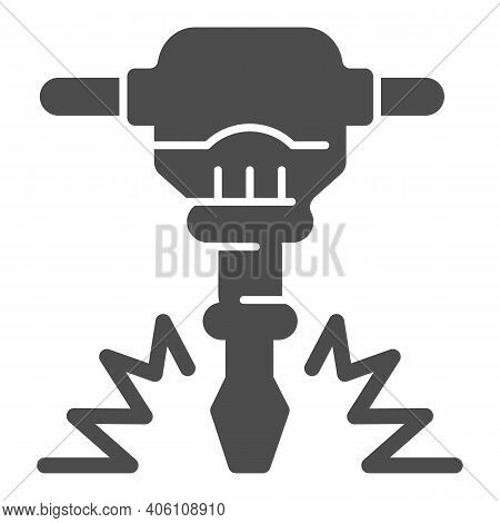 Construction Jackhammer Solid Icon, Labour Day Concept, Concrete Breaker Sign On White Background, P