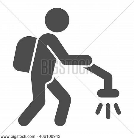 Man With Insect Spray Solid Icon, Pest Control Concept, Exterminator Sign On White Background, Pest