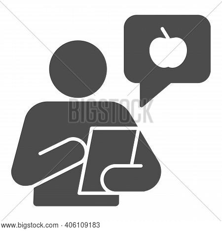 Healthy Food Consultant With Smartphone Solid Icon, Diet Concept, Chat With Fruit Logo And Person Si