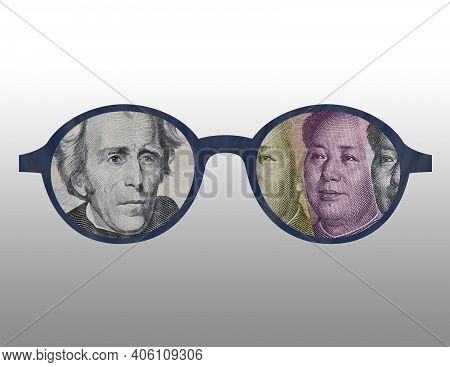 Illustration Of The Outline Of Some Glasses With The Image Of American And Chinese Money On Them