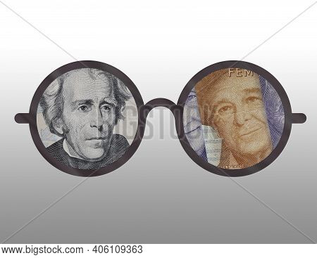 Illustration Of The Outline Of Some Glasses With The Image Of American And Swedish Money On Them