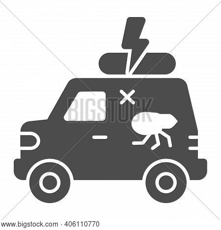 Pest Control Car Solid Icon, Pest Control Concept, Insect Repellent Service Sign On White Background