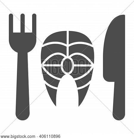Fork With Knife And Fish Solid Icon, Diet Concept, Healthy Dish Sign On White Background, Fish Dish