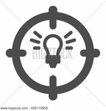 Lamp In Target Solid Icon, Startup Concept, Objective Idea Sign On White Background, Light Bulb With