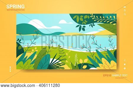 Beautiful Landscape With Flowers And Leaves Floral Spring Poster Horizontal Greeting Card Copy Space