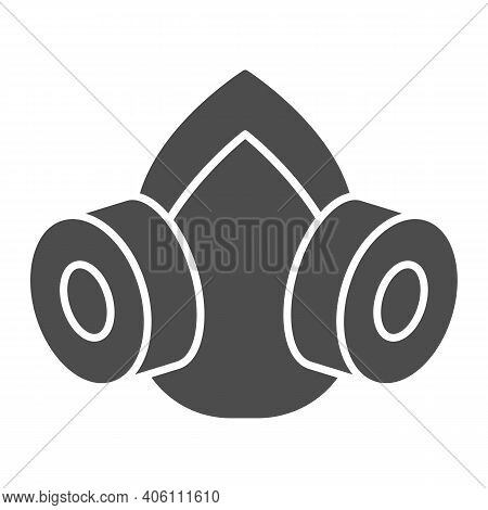 Gas Mask Solid Icon, Pest Control Concept, Respirator Sign On White Background, Pest Control Equipme