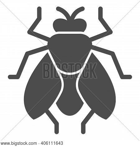 Fly Solid Icon, Pest Control Concept, Insect Sign On White Background, Fly Silhouette Icon In Glyph