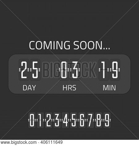Flip Coming Soon Illustration, Countdown Timer Template. Opening Soon For Website Template. Days, Ho