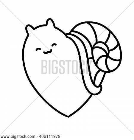 Illustration For Valentines Day, Smiling Heart - Snail, Cartoon Character, Symbol Of Love, Eternity,