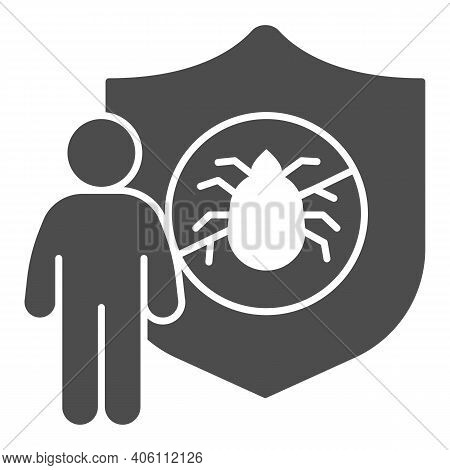 Man With Shield And Insect Solid Icon, Pest Control Concept, Insect Control And Extermination Servic