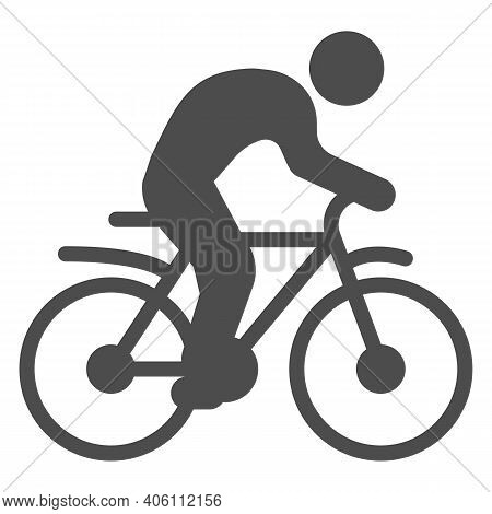 Man On Bike Solid Icon, Sport Concept, Bicyclist Silhouette Sign On White Background, Person Rides B