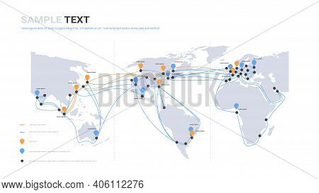 Global Network Cable Connections And Information Transfer System World Map Technology Internet Conne
