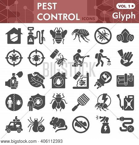 Pest Control Solid Icon Set, Anti Pest Symbols Collection Or Sketches. Insect Control Glyph Style Si