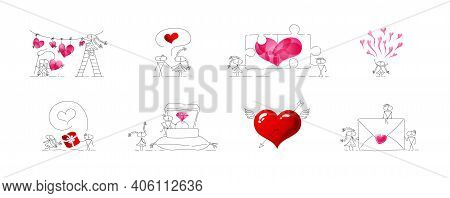 A Collection Of Quality Valentines. Bundle Of Vector Cute Miniatures. Set Of Festive Emojis.