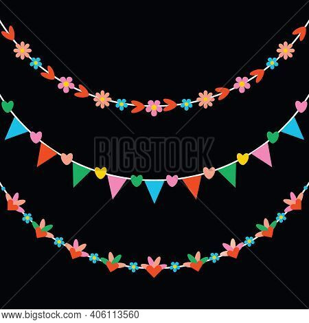 Cute Trendy Pink, Yellow And Blue Colors Hearts And Flowers Hanging Decoration Bunting Banners Set O