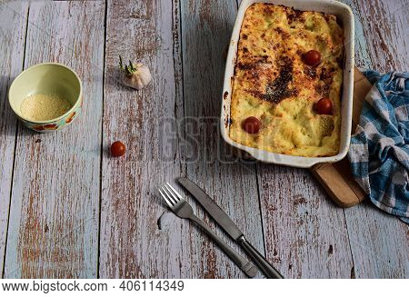 Delicious Freshly Cooked Bolognese Lasagna Served Whit Parmesan Cheese At Rustic Wooden Background/