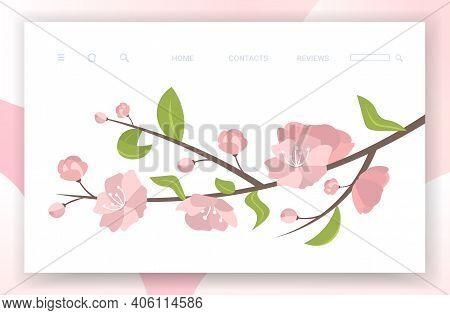 Pink Sakura Flowers With Leaves On Blooming Branch Spring Botanical Greeting Card Copy Space Horizon