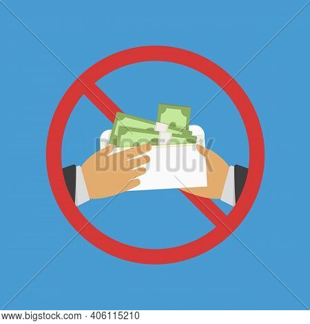 Anti Corruption Concept. Man Gives An Envelope With Money Another Man. Businessman Giving A Bribe. C