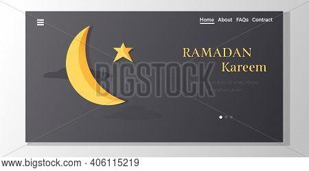 Ramadan Kareem Muslim Religion Holy Month Greeting Card Flat Vertical Copy Space Horizontal Copy Spa
