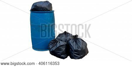 Blue Trash Black Plastic Bag Litter White Background