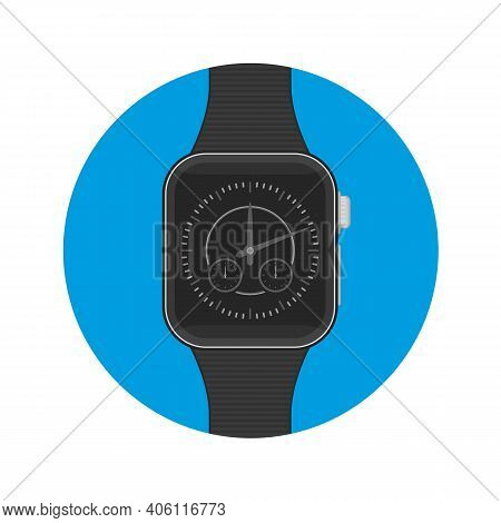 Smart Watch Sign Icon Whit Long Shadow. Modern Wrist Digital Watches With Watch App.