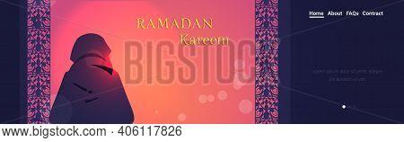 Religious Muslim Man Kneeling Praying Ramadan Kareem Holy Month Religion Concept Rear View Prayer In