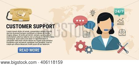 Customer Support Banner. Customer Care Concept Design. Icon Set Of Phone, Online Support, Gears, Ema
