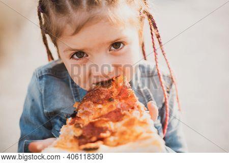 Child Eating Pizza. Fastfood For Kids. Junkfood Addiction. Italian Cuisine. Children Food. Childhood