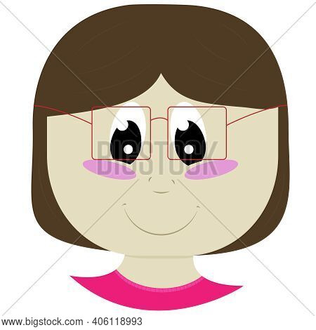 Chubby Girl In Glasses With Short Brown Hair In A Pink Sweater, Baby Face And Head In Flat Style, Ve
