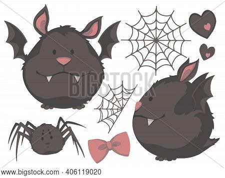 Vector Collection Of Cute Cartoon Style Chubby Bats With Spiders, Webs, Ribbons And Heart Illustrati