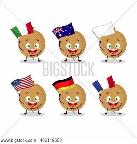 Longan Cartoon Character Bring The Flags Of Various Countries