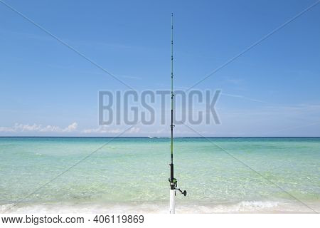 Fishing Sea And Summer Vacation. Fishing Rod, Spinner, Fish-rod. Relaxing Seascape