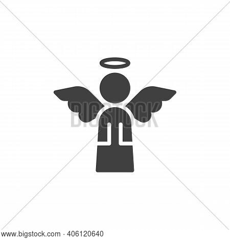 Holy Angel Vector Icon. Filled Flat Sign For Mobile Concept And Web Design. Angel With Wings And Hal