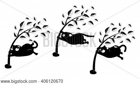 Cute Cartoon Black Cat Clings To A Tree During A Storm.