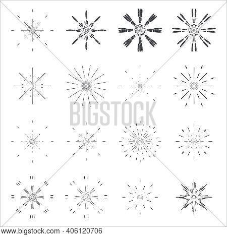 Sunburst Lineart Sun Radiant Icons Design Set Template Vector Illustration