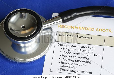 List of medical shots and tests concept of vaccination and immunization