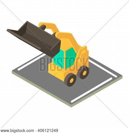 Mini Bulldozer Icon. Isometric Illustration Of Mini Bulldozer Vector Icon For Web