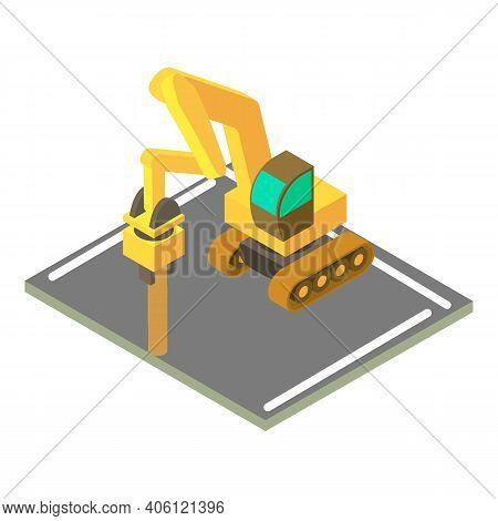 Large Jackhammer Icon. Isometric Illustration Of Large Jackhammer Vector Icon For Web
