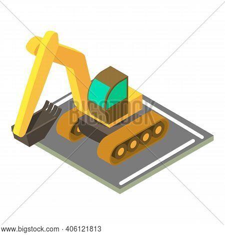 Crawler Excavator Icon. Isometric Illustration Of Crawler Excavator Vector Icon For Web