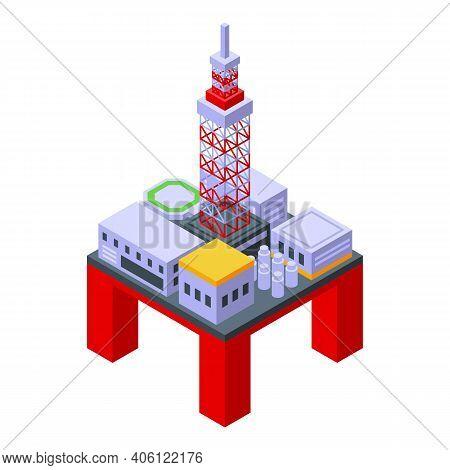 Sea Drilling Rig Power Icon. Isometric Of Sea Drilling Rig Power Vector Icon For Web Design Isolated