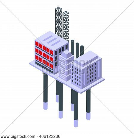 Sea Drilling Rig Electric Icon. Isometric Of Sea Drilling Rig Electric Vector Icon For Web Design Is