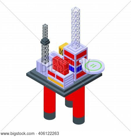 Sea Drilling Rig Engineer Icon. Isometric Of Sea Drilling Rig Engineer Vector Icon For Web Design Is