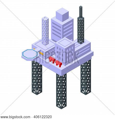 Sea Drilling Rig Station Icon. Isometric Of Sea Drilling Rig Station Vector Icon For Web Design Isol