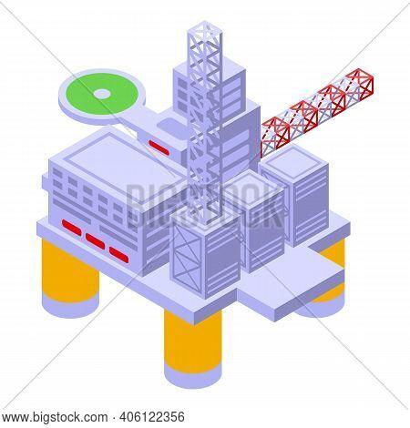 Sea Drilling Rig Coal Icon. Isometric Of Sea Drilling Rig Coal Vector Icon For Web Design Isolated O