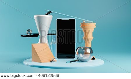 Phone Mockup On Modern Abstract Pedestal In Blue And Orange Tones. Balancing Geometric Shapes. Conte