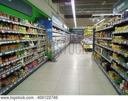 St. Petersburg, Russia - January 12, 2021: Top Supermarket - One Of Biggest Retailer. Retail Industr