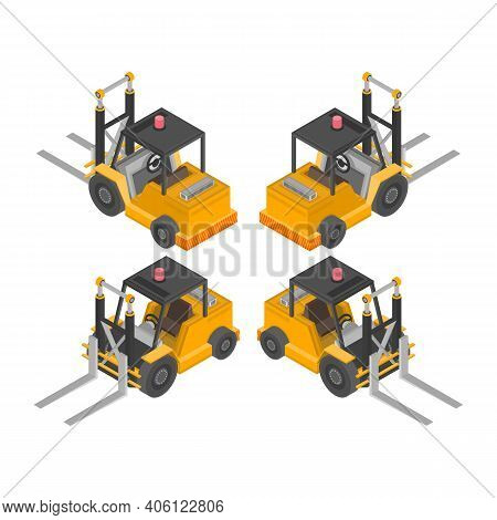 Lift Truck Isometric Icons. Forklift For Raising And Transporting Goods, Working Transport. Industry