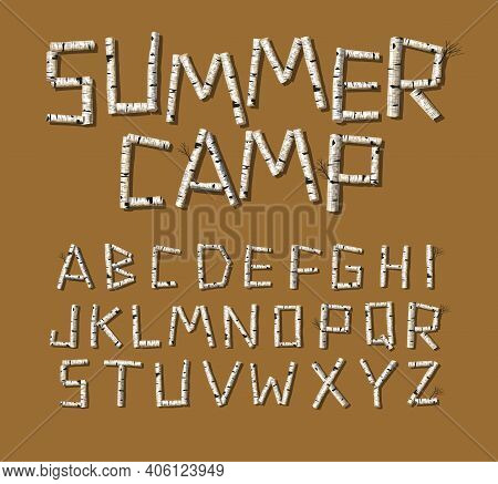 Vector Font Design. Alphabet Made Of Birch Tree Logs For Rustic Design Elements.